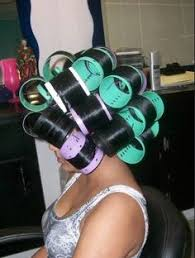 forced to wear hair rollers feminization hair in rollers pearls pinterest