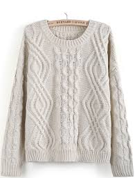 cable sweater apricot sleeve geo pattern cable knit sweater sheinside com