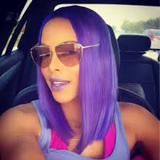 black women with purple hair keyshia kaoir in purple hair and lilac racquel lipstick by kaoir