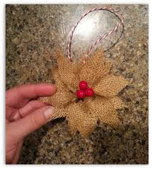 how to make burlap poinsettia christmas ornaments poinsettia