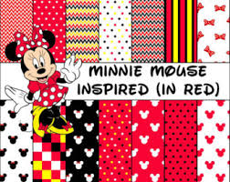 minnie mouse inspired red polka dot u0026 bow digital paper pack