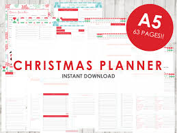 party menu planner template a5 christmas planner holiday planner printable 63 pages zoom