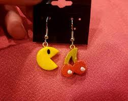 pacman earrings pac earrings etsy