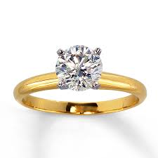 engagement ring gold jared diamond solitaire ring 1 carat 14k yellow gold