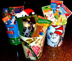 unique gift baskets using a decorative trash can as a gift basket house of