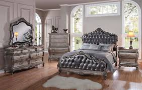 Upholstered Bedroom Furniture chantelle upholstered bed in antique silver finish by acme 20540q