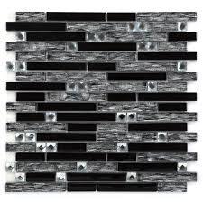 chenx 11 81 in x 12 40 in glass backsplash in black 11 18 sq