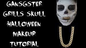 Halloween Skull Makeup Tutorial Halloween Gangster Grills Skull Makeup Tutorial Youtube