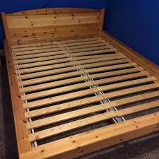 find more ikea queen size knotty pine wood bed frame easily