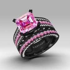 pink wedding rings pink and black wedding ring set mindyourbiz us