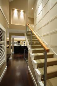 Modern Banister Molding On Wall Staircase Transitional With Metal Banister Metal