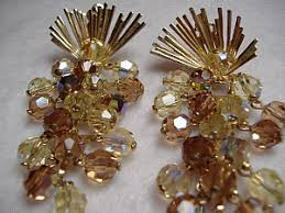 Costume Chandelier Earrings Vintage Costume Earrings Signed Topaz Ab Crystal Chandelier Earrings