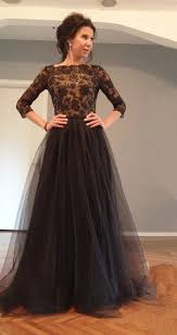 occassion dresses black 3 4 sleeve floor length evening dress lace open back