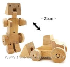 large wooden bulldozer transformer at my wooden toys