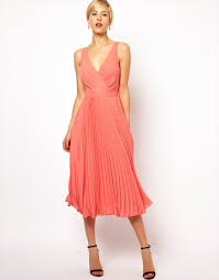 wrap dress for wedding guest lyst asos mango pleat and wrap midi dress in pink