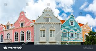 oranjestad downtown panorama typical dutch colonial stock photo