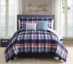 Plaid Bedding Set 5 Piece Breezy Plaid Navy Red Reversible Comforter Set