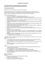 Housekeeper Job Description Resume by Housekeeping Duties And Responsibilities Resume Resume Template Free