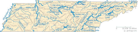 cumberland lake map map of tennessee lakes streams and rivers