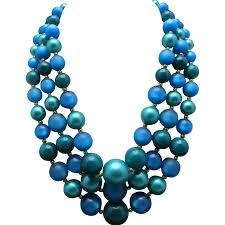 blue beads necklace images Blue bead necklace three strands earrings clip on unsigned jpg