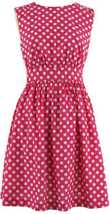 womens pink polka dot dress real photo pictures exquisite
