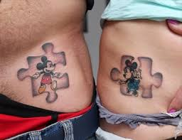 couple tattoo mickey mouse disney characters tattoos pinterest tattoo puzzle tattoos and