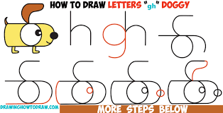 how to draw a cartoon dog from letters