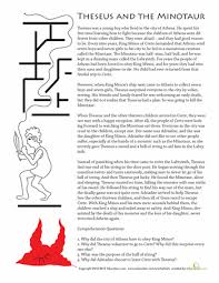 theseus and the minotaur worksheets articles and language arts