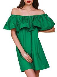 off shoulder mini dress ruffle green loose fitting design