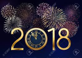 new year s greeting cards 2018 new year greeting card with golden clock and sparkles and