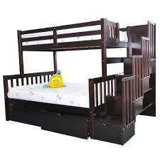 Twin Full Stairway Bunk Bed Flamingo Espresso Stairs Beds - Double bunk beds