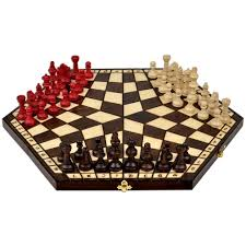 wooden three player chess 18 5