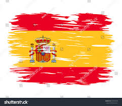flag spain painted brush colored inks stock vector 243379918