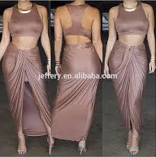 unique women dress design two pieces high split tight dress indian