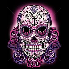 pink sugar skull womans sleeve t shirt day of the dead sugar