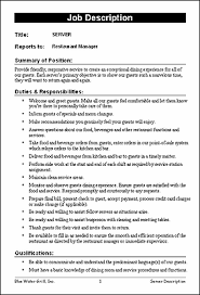 Bartender Job Description Resume by Restaurant Job Description Templates