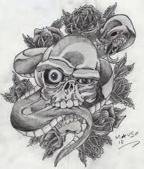 skull with snake and roses by marknuttall1987 on deviantart