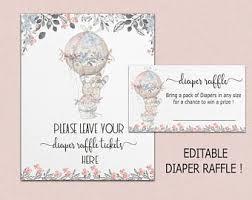 instant download diaper raffle cards mermaid diaper raffle