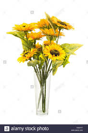 artificial sunflowers composition of bright artificial sunflowers in glass vase isolated