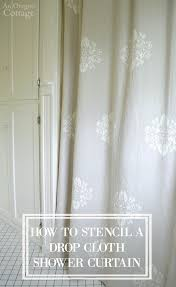 Shower Curtain To Window Curtain How To Stencil A Drop Cloth Shower Curtain