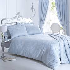 vantona rose damask jacquard duvet cover sets duck egg blue