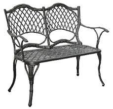 Cast Iron Loveseat Furniture Bench Cast Aluminum Iron Loveseat Black Bamboo