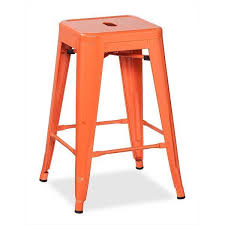 Industrial Metal Bar Stool Orange 24