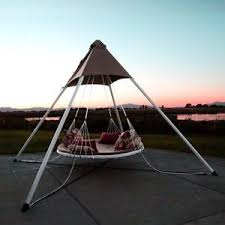 swinging round trampoline bed canopy hanging outdoor cushion