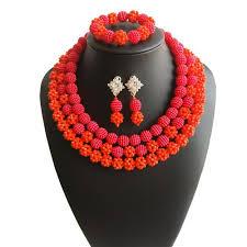 african wedding bead necklace images Luxury women dubai wedding coral statement jewelry set brown jpg