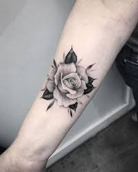 beautiful black u0026 grey rose tattoo on forearm