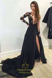 sheer lace bodice black slit prom dress with train and long sleeve