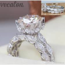 rings silver bands images Vecalon 2016 vintage engagement wedding band ring set for women jpg