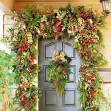 christmas garland and swag decorating ideas front doors