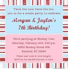 twin fun birthday invitation sibling custom version